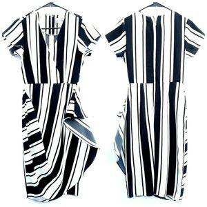 ASOS Black White Stripe Drape Short Sleeve Dress